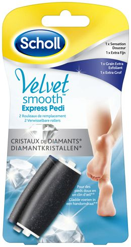 Rouleaux Velvet Smooth™ Express Pedi Grain exfoliant et sensation douceur  aux Cristaux de Diamants*