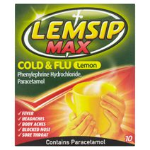 Lemsip Max Cold + Flu Lemon Hot Drink 10s