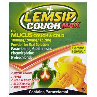 Lemsip Cough Max Mucus Cough + Cold Lemon Hot Drink 10s