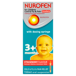 NUROFEN FOR CHILDREN COLD & FLU & PAIN STRAWBERRY 100MG/5ML ORAL SUSPENSION