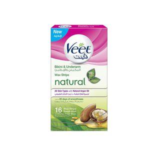 Veet Hair Remover Natural Bikini & Under Arms Cold Wax Strips Argan Oil 16s