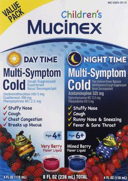 Mucinex® Children's Multi-Symptom Day & Night Cold Relief Liquid Combo Pack, Very Berry (Day) & Mixed Berry (Night) Flavor