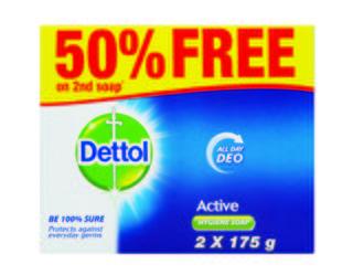 Dettol Hygiene Soap Active 2x175g
