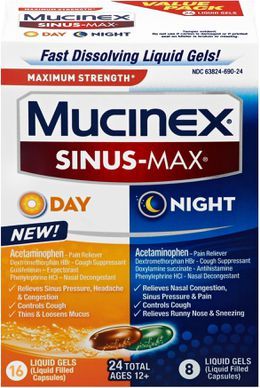 Maximum Strength* MUCINEX® Sinus-Max® Day & Night (Combo Pack, liquid gels)