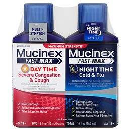 Maximum Strength Mucinex® Fast-Max® Day Severe Congestion & Cough and Night Cold & Flu, Liquid