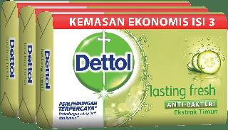 Sabun Anti Bakteri Dettol Lasting Fresh (3 x 65g)