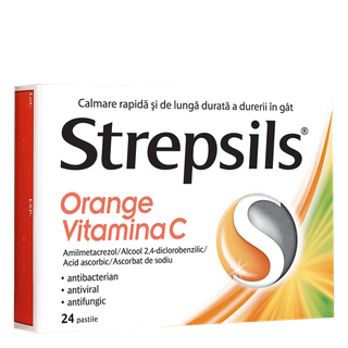 Strepsils Orange Vitamina C pastile