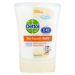 Dettol No-Touch Antibacterial Hand Wash with E45 Softness- Handwash System - Refill  - Honey
