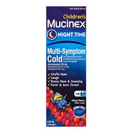 Mucinex® Children's Multi-Symptom Nighttime Cold Liquid, Very Berry Flavor