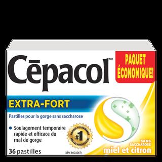 Cepacol extra-fort sans saccharose miel et citron