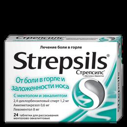 Стрепсилс® от боли в горле и заложенности носа с ментолом и эвкалиптом