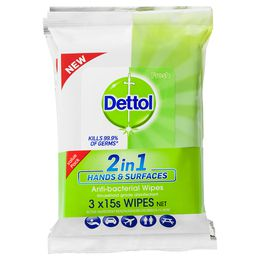 Dettol 2in1 Hands and Surfaces Wipes 15s Pack