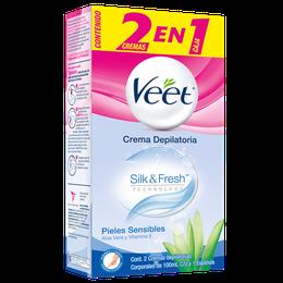 Crema depilatoria Corporal Veet para piel sensible 2 en 1