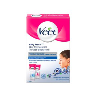 Veet Silky Fresh Face Hair Removal Kit Sensitive Skin 2 X 50 Ml