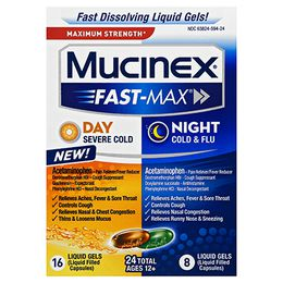 Maximum Strength Mucinex® Fast-Max® Day Severe Cold & Night Cold & Flu, Liquid Gels