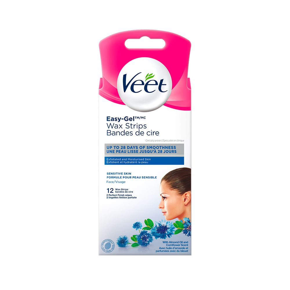 Veet® Easy-Gel™ Precision Wax Strips Face Sensitive Skin, 12 ct + 2 wipes
