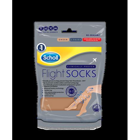 Scholl Flight Socks Natural Sheer - Sizes 4-6