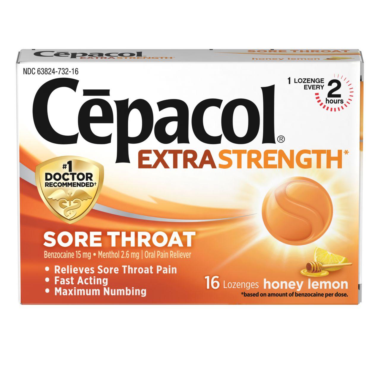 sore throat honey lemon lozenges   cēpacol®