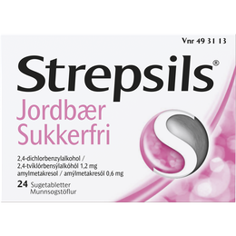Strepsils Jordbær Sukkerfri sugetabletter 24 stk.