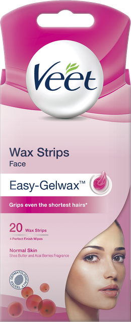 Veet Wax Strips for Face, Normal Skin, 20s