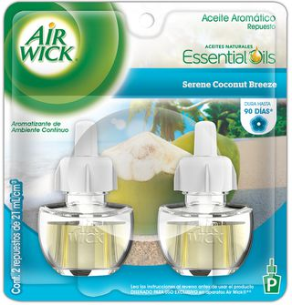 Air Wick® Eléctrico Serene Coconut Breeze Repuesto 21 ml (x2)