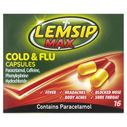 Lemsip Max Cold + Flu Capsules (Pack of 16c)