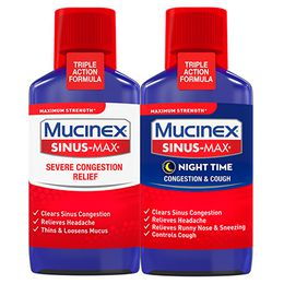 Maximum Strength* MUCINEX® Sinus-Max® Day Time Severe Congestion Relief and Night Time Congestion & Cough (Combo Pack, liquids)