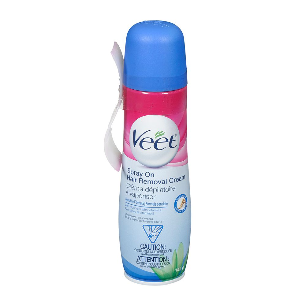 Veet® Spray On Hair Removal Cream Legs & Body Sensitive Formula, 150 mL