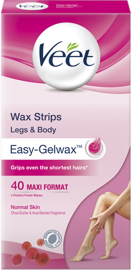 Veet Wax Strips for Body & Legs, Normal, 40s