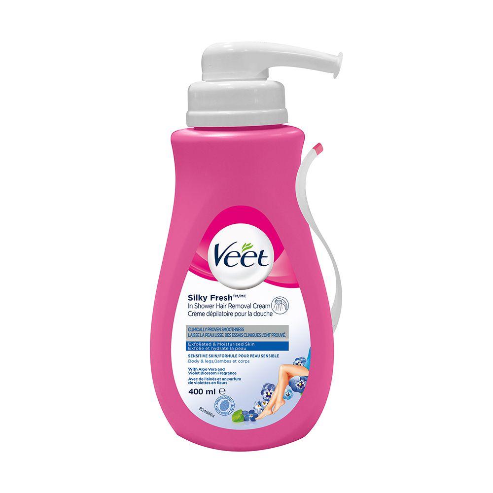 Veet® In-Shower Hair Removal Cream Silky Fresh ™ Legs & Body Sensitive Skin, 400 mL