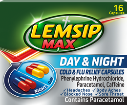 Lemsip Max Cold + Flu Day & Night Capsules (Pack of 16c)
