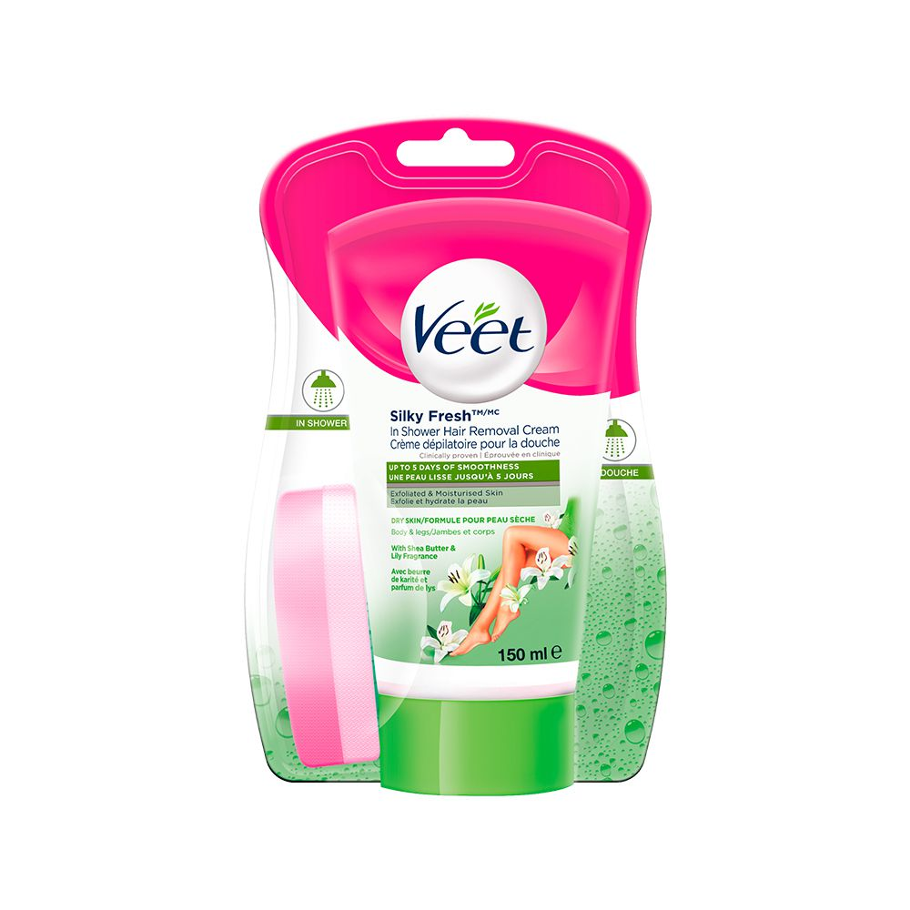 Veet® In-Shower Hair Removal Cream with Silky Fresh ™ Legs & Body Dry Skin, 150 mL
