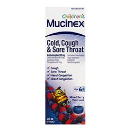 Mucinex® Children's Cold, Cough and Sore Throat Liquid Medicine, Mixed Berry Flavor