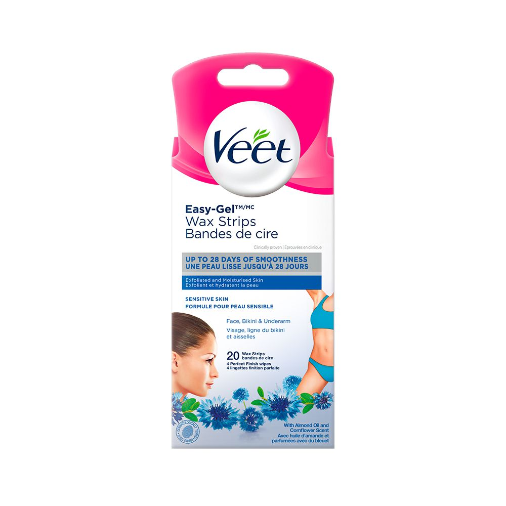 Veet® Easy-Gel™ Precision Wax Strips Face, Bikini & Underarm Sensitive Skin, 20 ct + 4 wipes
