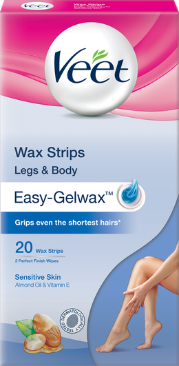 Veet Wax Strips for Legs & Body, Sensitive, 20s