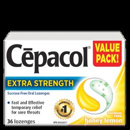 Cepacol Extra Strength - Sucrose Free Honey & Lemon