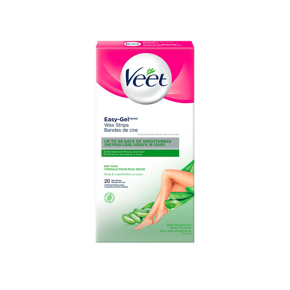 Veet® Easy-Gel™ Wax Strips Body & Legs Dry Skin, 20 ct + 2 wipes