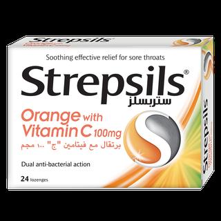 Strepsilsمستحلب  البرتقال مع فيتامين ج
