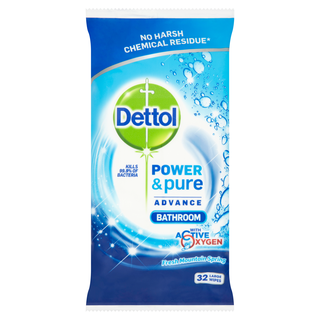 Dettol Power & Pure Advance Bathroom Wipes - Fresh Mountain Spring