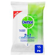 Dettol 2 in 1 Hands & Surfaces Anti-Bacterial Wipes 15 Pack