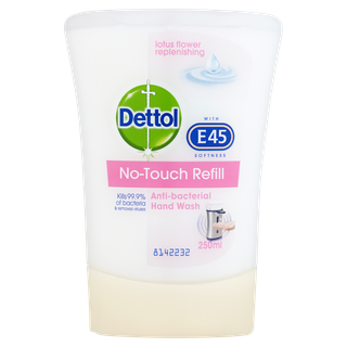 Dettol No-Touch Antibacterial Hand Wash with E45 Softness- Handwash System - Refill - Lotus Flower