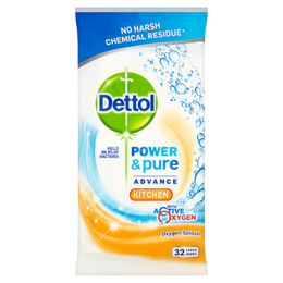 Dettol Power & Pure Advance Kitchen Wipes - Kitchen - Oxygen Splash