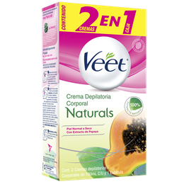 Crema depilatoria Corporal Veet Naturals Papaya 2 en 1