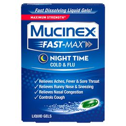 Maximum Strength Mucinex® Fast-Max® Nighttime Cold and Flu, Liquid Gels