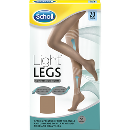 Scholl Light Legs Nylonstrømper med kompresjon Light Tan i 20 denier medium