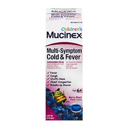 Mucinex® Children's Multi-Symptom Cold and Fever Liquid, Berry Blast Flavor