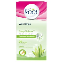 Veet Wax Strips Easy-Gelwax Technology Legs & Body Dry Skin 20 strips