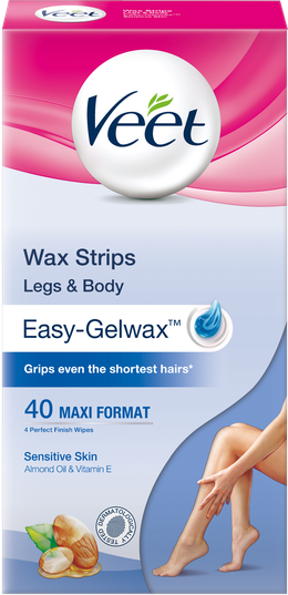 Veet Wax Strips for Legs & Body, Sensitive, 40s