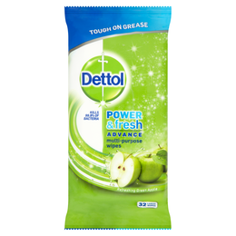 Dettol Power & Fresh Advance Antibacterial Multi-Purpose Wipes - Green Apple