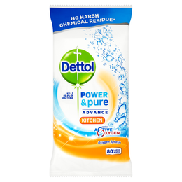 Dettol Power & Pure Advance Kitchen Wipes - Kitchen - Hob & Sink - Fresh Citrus Burst